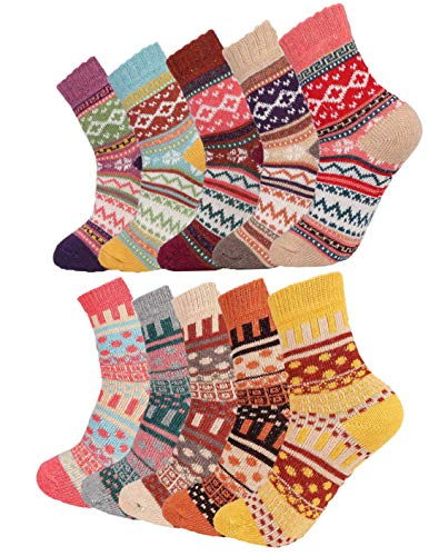 FIBO STEEL 10 Pairs Vintage Winter Wool Knit Socks for Women Men Softs Thick Cozy Crew Christmas Gifts Socks