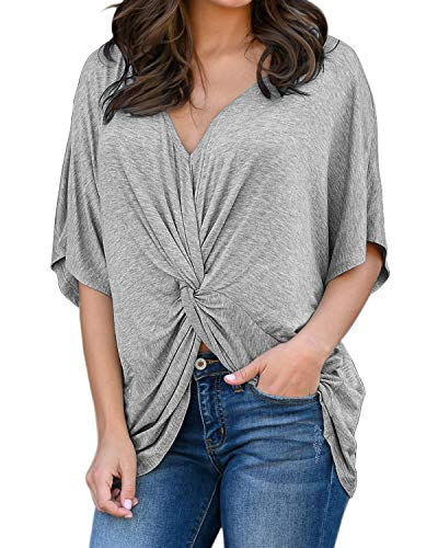 Horyliin Summer Tops for Women Plus Size, Ladies V Neck Half Sleeve Batwing Shirts Pleated Front Long Length Loose Fit Tunic Blouses Grey XXL