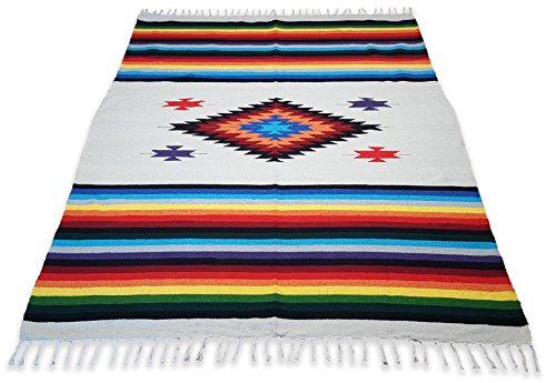 El Paso Designs Beautiful Mazatlan and San Miguel Blanket- 5'x7' Heavy Weight, Hand-Woven Blanket with Intricate Mexican Saltillo Diamond (19th Century Tapestry)