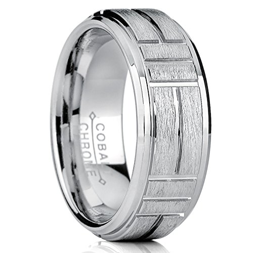 Ring Band, Raised Textured Brushed Grooved Center, Comfort Fit 8mm SZ 11 (Textured Comfort Fit Wedding Band)