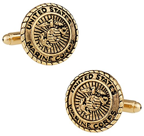 Cuff Daddy Gold Cufflinks (Cuff-Daddy USMC Marine Corp Cufflinks Gold with Presentation Box)
