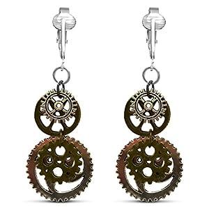 Metal Steampunk Clip On Earrings for Women-Steampunk Jewelry Earrings- Womens Steampunk Dangle Earrings