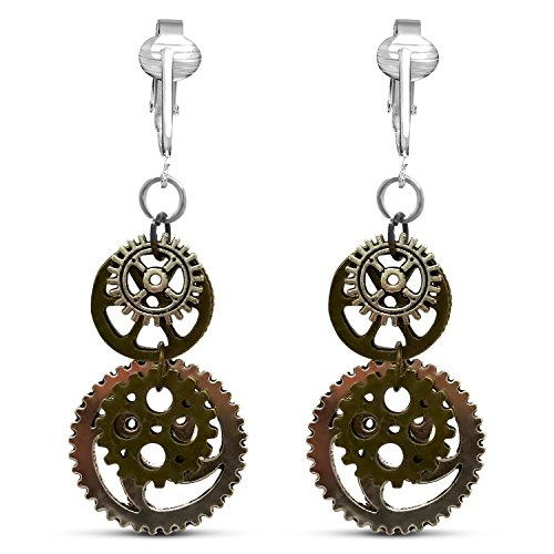 Metal Steampunk Clip On Earrings for Women-Steampunk Jewelry Earrings- Womens Steampunk Dangle Earrings