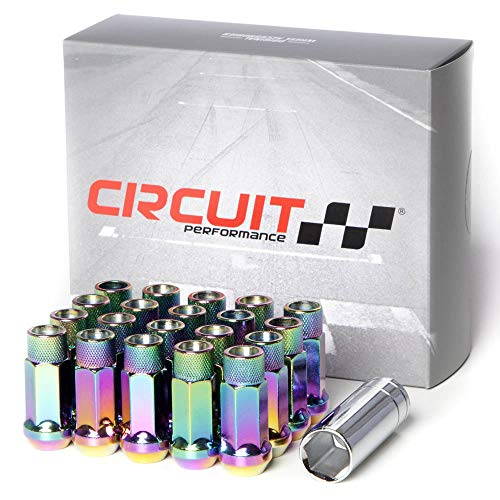 Circuit Performance Forged Steel Extended Open End Hex Lug Nut for Aftermarket Wheels: 12x1.5 Neo Chrome - 20 Piece Set + Tool
