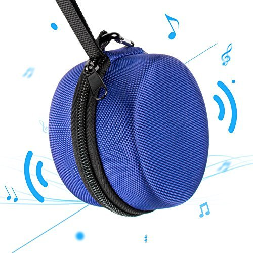 Echo Dot Case, 711TEK Portable Carrying Travel Bag Protective Hard Case Cover with Screw-Lock Carabiner, Fits Phone Headset, Charger and USB Cable (Black) (Blue)