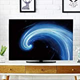 PRUNUS Cover for Wall Mount tv Blue Glowing Spiral Flow,Computer generated Abstract Background Cover Mount tv W25 x H45 INCH/TV 47''-50''