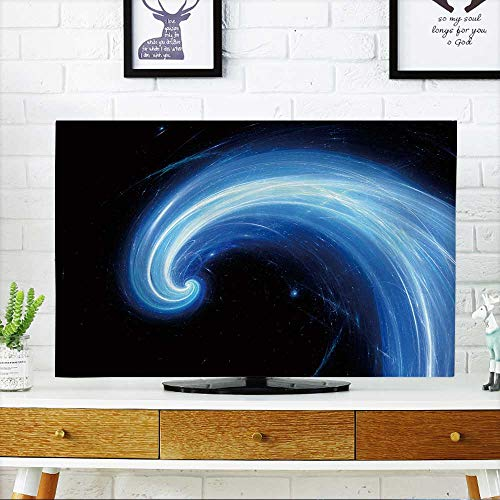 PRUNUS Cover for Wall Mount tv Blue Glowing Spiral Flow,Computer generated Abstract Background Cover Mount tv W25 x H45 INCH/TV 47''-50'' by PRUNUS