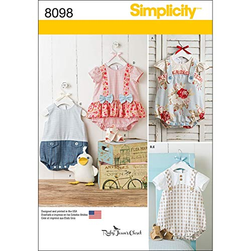 Simplicity 8098 Stuffed Duck, Romper, and Sandals Baby Clothes Sewing Pattern, Sizes XXS-L