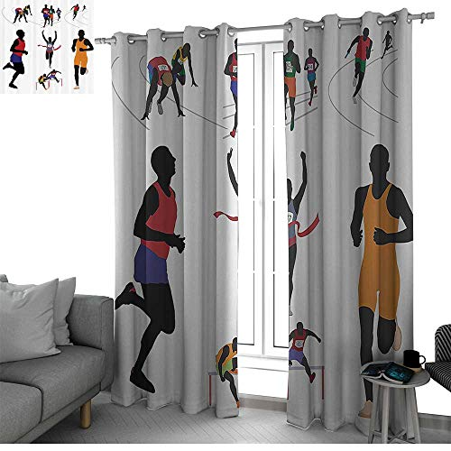 Olympics Decorations Collection Thermal Insulating Window Curtains Runners in Campus Illustration Fitness Sporty Energetic Movement Champions Image room darkening curtains for bedroom Red Blue