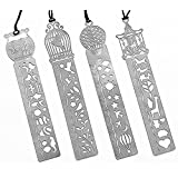 Yalis Set of 4 Bookmark Stencil Stainless Steel Hollow Drawing Template Icon Tool DIY Photo Album/Diary/Letter Accessories Ruler