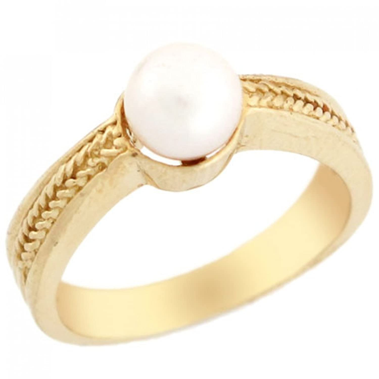 10k Solid Yellow Gold Freshwater Cultured Pearl Leaves Solitaire Ring Jewelry