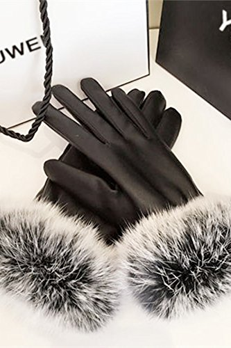 Generic Leather_ glove gloves women girls autumn winter _riding_is_pretty_ large plush, Korean_style_of touch_screen_is_ stylish warm_plus_velvet_thick