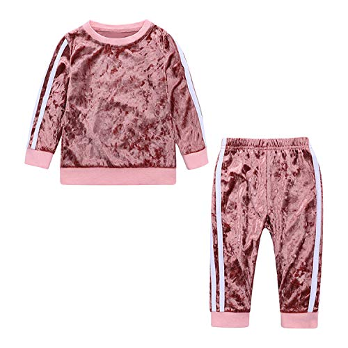 Evelin LEE Unisex Baby 2pcs Outfits Long Sleeve Velvet Pullover Sweatshirts& Jogger Pants Pink