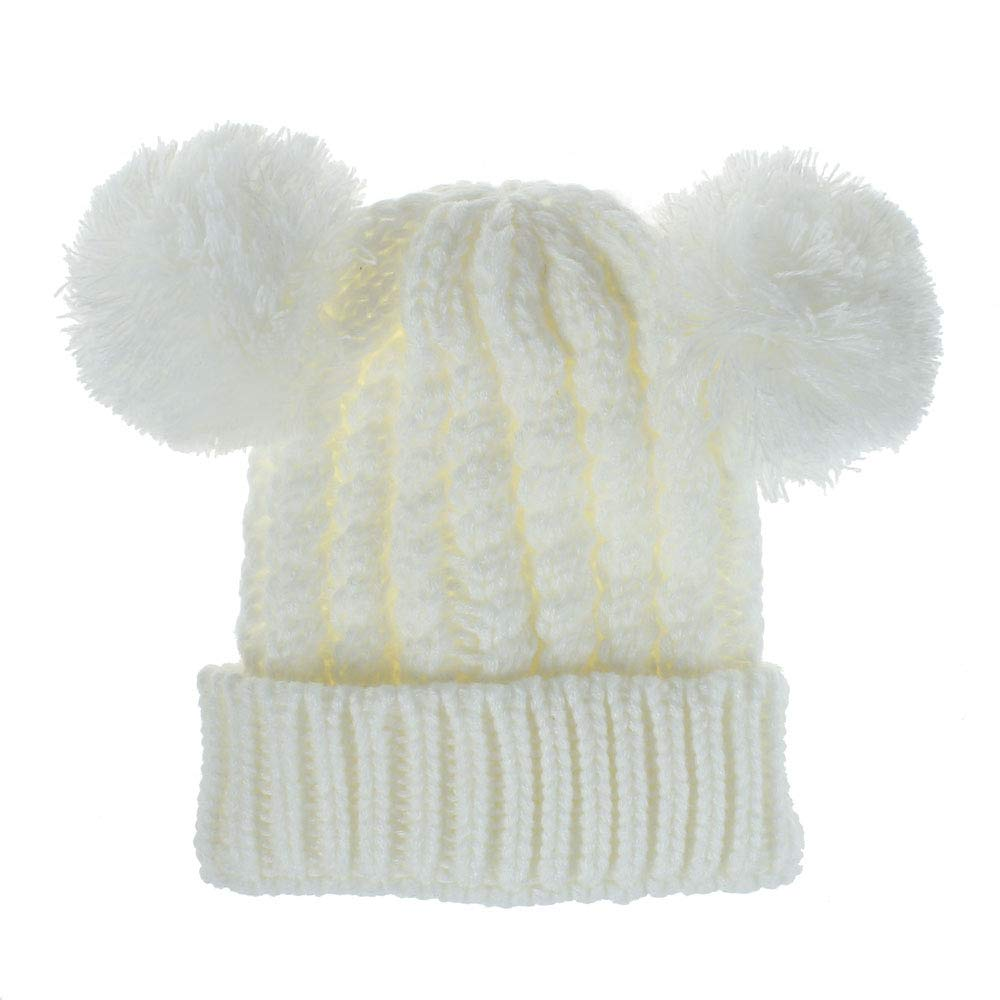 Ages 2-7 TIENCIY Kids Winter Cute 2 Pom Pom Ears Soft Beanie Hat Boys Girls Chunky Thick Stretchy Knit Soft Beanie Hat