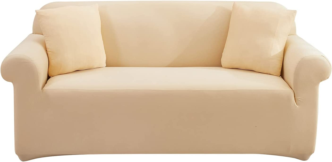 UMETE Stretch Sofa Cover Couch Covers, 1 Piece Loveseat Slipcovers for 2 Cushion Couches, Furniture Protector for Living Room with 2 Pillowcases (Medium,Beige Yellow)