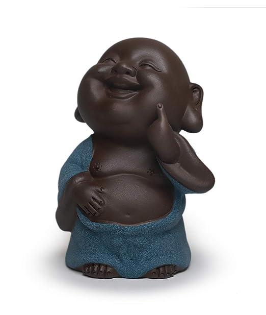 Amazon.com: Figura de buda de pie con que ríe la arcilla ...