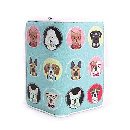 Zip Around Bi-Fold Wallet in Vinyl Material (Gentle Dogs in Glasses) (Print Fold Screen Wallet Bi)