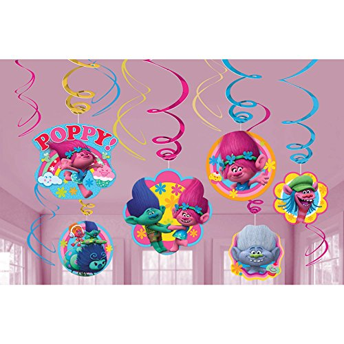 Amscan Trolls The Movie Swirl Decorations 12 Count Birthday Party Supplies
