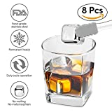NEWDUS 8 Piece Reusable Metal Stainless Steel Chilling Stones for Scotch Whiskey Wine and Drink with Tongs and Ice Cube Tray