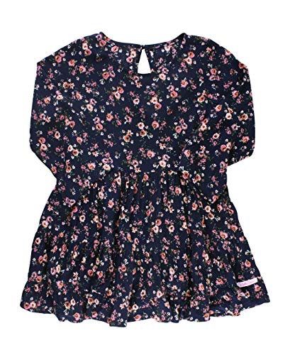 RuffleButts Baby/Toddler Girls Tiered Navy Floral Print Flowy Dress - 3-6m