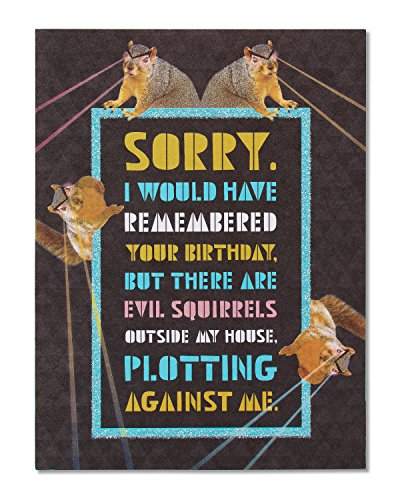 - American Greetings Funny Squirrels Belated Birthday Card with Glitter - 5856739