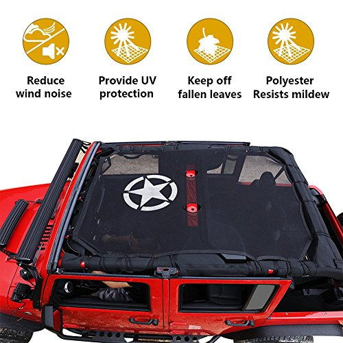 Jeep Wrangler Durable Mesh Sun Shade Full Top Cover UV Protection with Storage Pockets For Jeep Wrangler Jeep JK 2-Door and JKU 4-Door (2007-2017) (B5)
