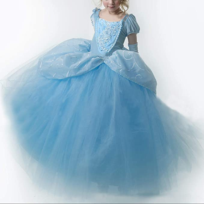 Girls Belle Cosplay Princess Dress Fancy Costumes Yellow Ball Gown Party Dress