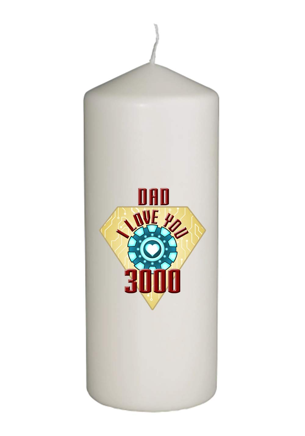 Dad I Love You 3000 Metal Heart Reactor Film Parody Father's Day in Full Color Unity Candle - Wedding, Baptism, Funeral, Special Event Decoration (6 inches Tall)