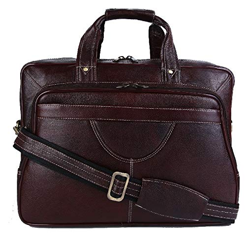(HiLEDER 100% Pure Genuine Leather 16 inch Spacious Travel Briefcase Laptop Messenger Satchel Office Bag, Dark Brown)