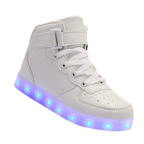 Yudesun Niños Unisex Luminoso Zapatillas de Deporte - Intermitente Niño LED Iluminado USB Carga Entrenadores Cuero Transpirable Niñito Niños Niñas Deportes ...