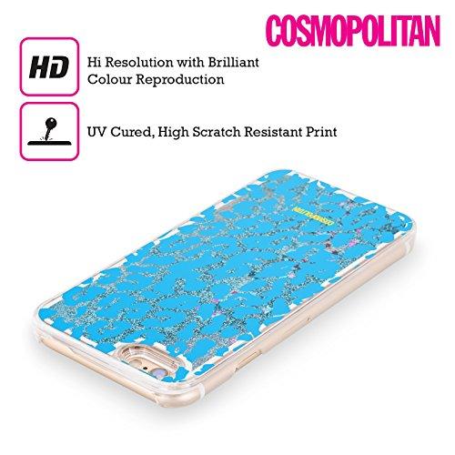 Official Cosmopolitan Blue Cheetah Animal Skin Patterns Sky Blue Liquid Glitter Case Cover for Apple iPhone 5 / 5s / SE