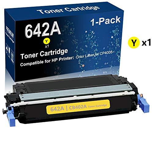 1-Pack (Yellow) Compatible High Yield 642A (CB402A) Printer Toner Cartridge covid 19 (Color Laserjet Cp4005 Series coronavirus)