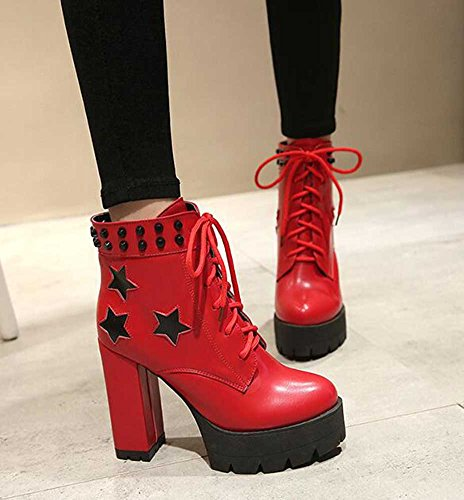 CHFSO Womens Trendy Solid Rivet Round Toe Star Lace Up High Chunky Heel Platform Ankle Boots Red 2QXsQ