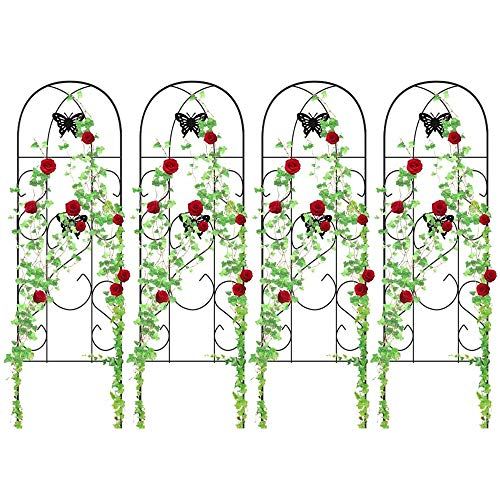 4 Pack Garden Trellis for Climbing Plants 60″ x 18″ Rustproof Sturdy Black Iron Trellis for Potted Plant Support Butterfly Metal Trellises for Climbing Roses Vines Flower Vegetables Cucumber Clematis