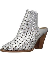 The Fix Women's Jaeda Open Weave Mule Shoetie Ankle Bootie, Matte Silver/Metallic, 10 B US