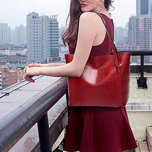 Girls Travel Vintage Bag Office Wax Laides Red Messenger Shoulder Oil Handbags Body PU Women For Bags Tote Cross HwRq1Aw