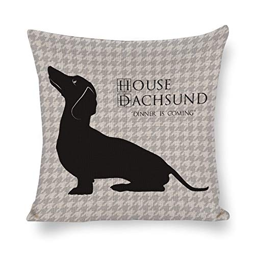 Houndstooth Gift - Mesllings House Dachsund Dinner is Coming with Houndstooth Pattern Best Gifts Decorative Throw Cotton Linen Pillowcase Cushion Cover Case for Sofa Living Room Family Office - 18 Inch