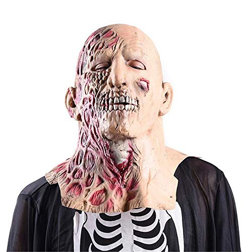 LBAFS Halloween Mask Haunted House Props Disgusting Face Zombies Terror Rotten Masks Walking Dead Head Covers]()