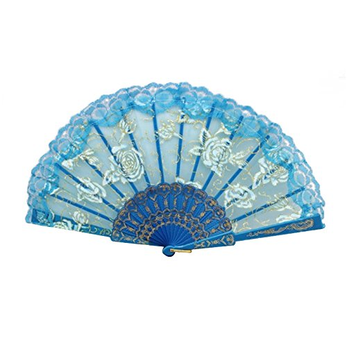 lowers - 1pcs Vintage Chinese Spun Silk Flower Printing Hand Fan Folding Hollow Carved Event Party - Bath Brooch Dress Dome Rings Yellow Light Gold Watch Vase Hair Pendant S ()