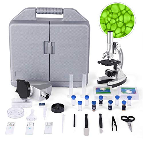 TELMU Microscope for Kids and Beginners Includes 70pcs+ Accessory Set, 300X-600X-1200X Magnification with Metal Arm and Base, Boys and Girls Microscope Play Toy
