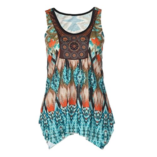 Price comparison product image Casual Tank Tops,Clearance! AgrinTol Women Casual Summer Printing Sleeveless Blouse T-Shirt (XL, Green)