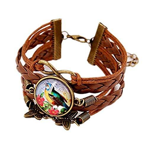 Retro Multilayer Bracelet Butterfly Pendant Time Gemstone Braided Bracelet for Women Girls -