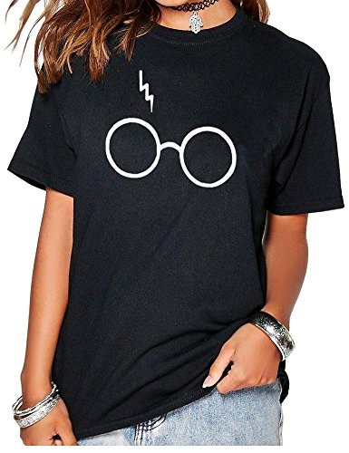 Peceony Cotton Glasses Print Women Short Sleeve Crew Neck T-shirts Black S
