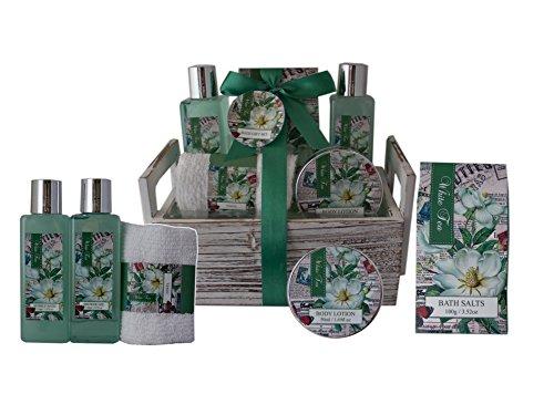 Salsacollection White Tea Geschenkset Pflegeset Geschenkkorb mit 5 Kosmetikprodukten