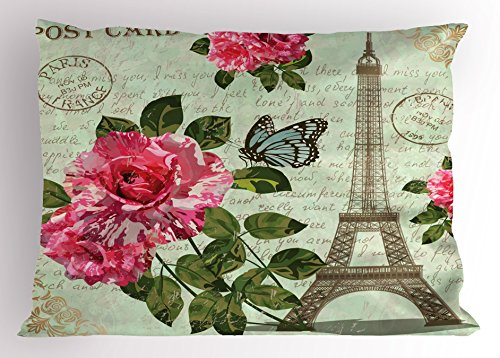 (Ambesonne Paris Pillow Sham, Shabby Chic Romantic Roses Flowers Leaves with Eiffel Tower and Abstract Lettering, Decorative Standard Queen Size Printed Pillowcase, 30 X 20 Inches, Multicolor)