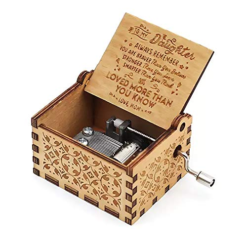 (Hand Crank Music Box for Daughter Gifts from Mom, Play The Tune You are My Sunshine Unique Gifts for Daughter Vintage Engraving Wooden Music Box (for Daughter))