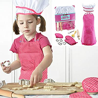 Mansalee Chef Set For Kids Cooking Play Set With Apron For Girls Ages 3+, 11 Pcs Great Gift, Chef Hat, and Other accessories For Toddler Career Role Play Children Pretend Play