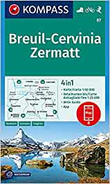 87 Breuil - Cervinia - Zermatt 1: 50.000: 4in1 Wanderkarte 1:50000 mit Aktiv Guide und Detailkarten inklusive Karte zur offline Verwendung in der KOMPASS-App. Fahrradfahren. Skitouren.