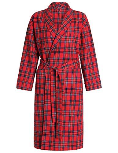Latuza Women's Cotton Flannel Robe L - Red Flannel Robe
