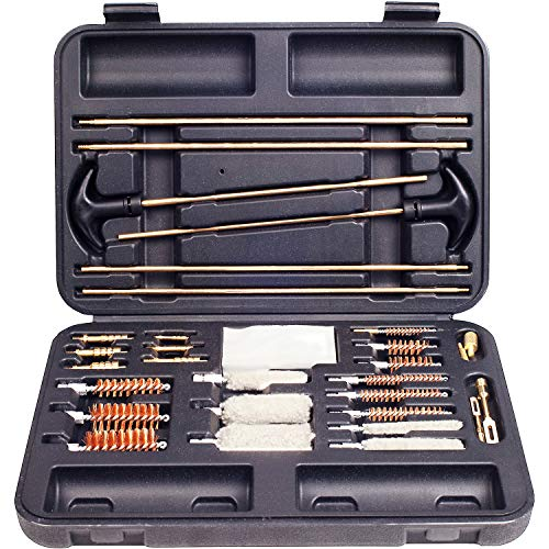 Universal Gun Cleaning Kit for All Guns - Handgun (Pistol, Revolver), Shotgun and Rifle Cleaning Kit - Sturdy Brass Tips